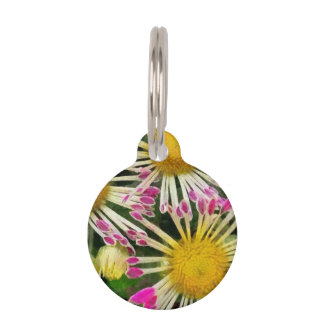 Bright yellow and pink flowers pet ID tag