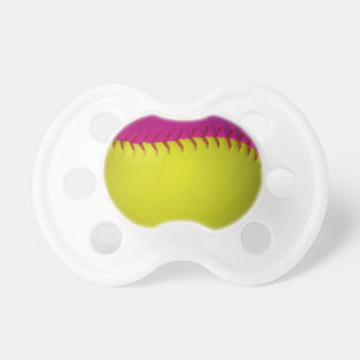 Bright Yellow and Pink Softball Pacifier