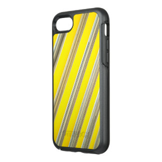 bright yellow and white diagonal striped pattern OtterBox symmetry iPhone 7 case
