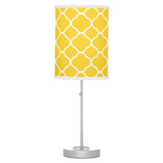 Bright Yellow and White Quatrefoil Pattern Table Lamp
