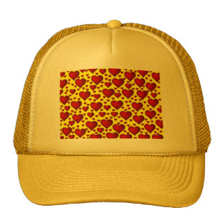 BRIGHT YELLOW BACKGROUND RED BUBBLY HEARTS TEMPLAT MESH HAT