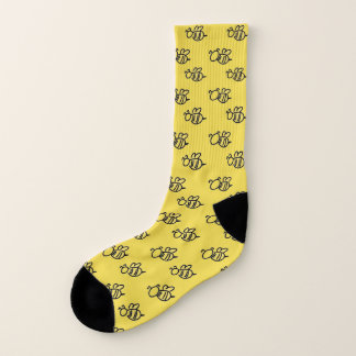 Bright Yellow Bees Pattern Socks