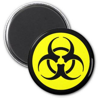 Bright Yellow Biohazard Symbol Magnet