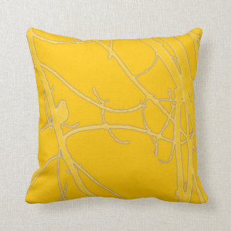 Bright yellow bird in branches throw pillow