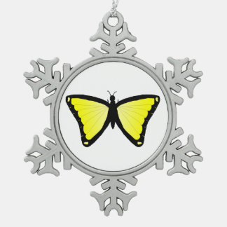 Bright yellow butterfly snowflake pewter christmas ornament