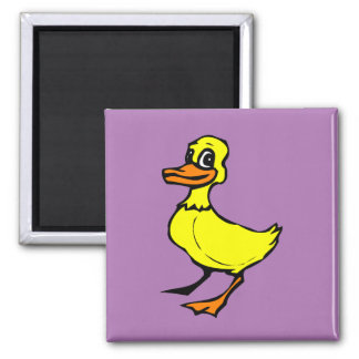 Bright yellow cartoon duckling square magnet