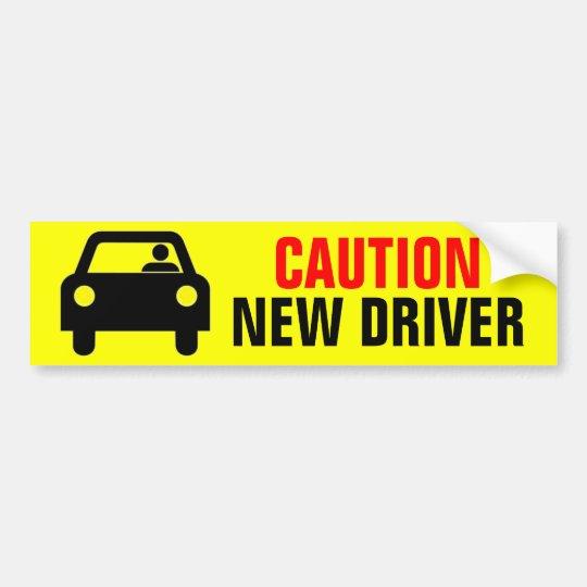 Bright Yellow Caution New Driver Bumper Sticker