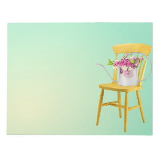 Bright Yellow Chair With Watering Can of Flowers Notepad