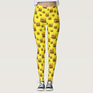 Bright Yellow Cheeseburgers Illustrated Leggings