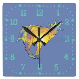 Bright Yellow colourful Goat Funny Animal Design Wallclock