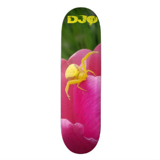 Bright Yellow Crab Spider  Pink Flower  initials Skate Decks