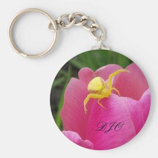Bright Yellow Crab Spider  Pink Tulip initials Basic Round Button Keychain