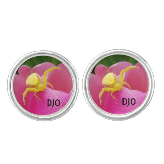 Bright Yellow Crab Spider  Pink Tulip initials Cuff Links