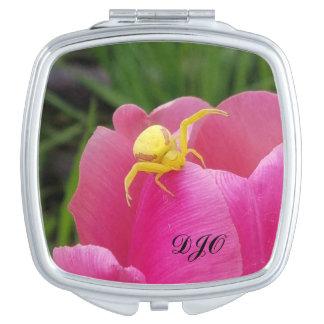 Bright Yellow Crab Spider  Pink Tulip initials Makeup Mirrors