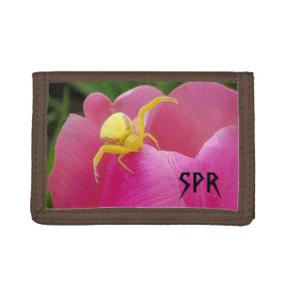 Bright Yellow Crab Spider  Pink Tulip initials Tri-fold Wallet