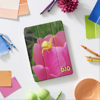 Bright Yellow Crab Spider Pink Tulip your initial iPad Air Cover