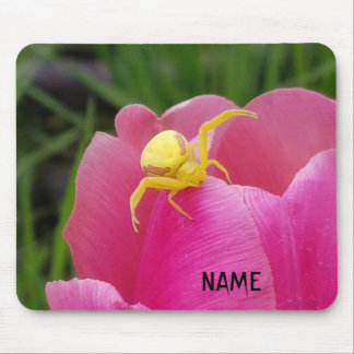 Bright Yellow Crab Spider  Pink Tulip Your Name Mouse Pad