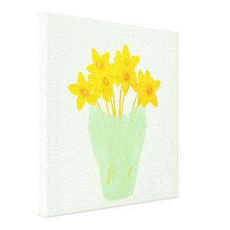 Bright Yellow Daffodils on Mint Feeling Spring Canvas Print