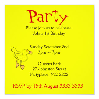 Bright Yellow Duckies Birthday Party Invitations
