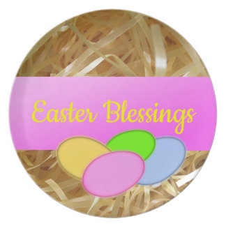 Bright Yellow Eggs Spring Happy Easter Plate