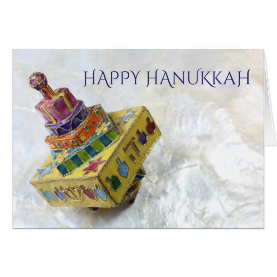 Bright yellow enameled dreidel Hanukkah card
