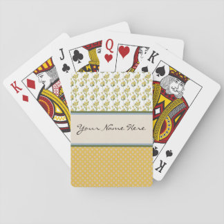 Bright Yellow Flowers on Polka Dots Playing Cards
