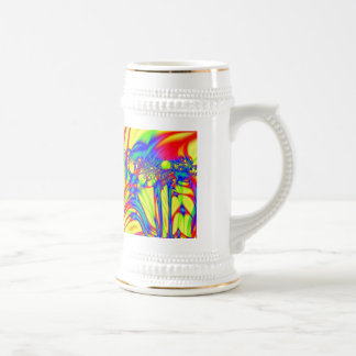 Bright yellow fractal abstract mugs
