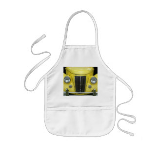 Bright yellow front grill with headlights and hood kids apron