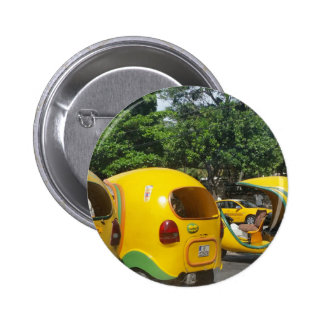 Bright yellow fun coco taxis from Cuba 2 Inch Round Button