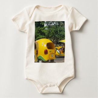 Bright yellow fun coco taxis from Cuba Baby Bodysuit