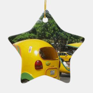 Bright yellow fun coco taxis from Cuba Ceramic Star Ornament