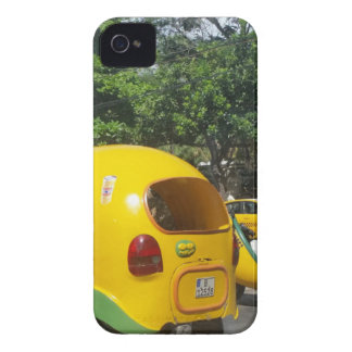 Bright yellow fun coco taxis from Cuba iPhone 4 Cover