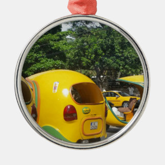 Bright yellow fun coco taxis from Cuba Metal Ornament