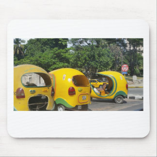 Bright yellow fun coco taxis from Cuba Mouse Pad