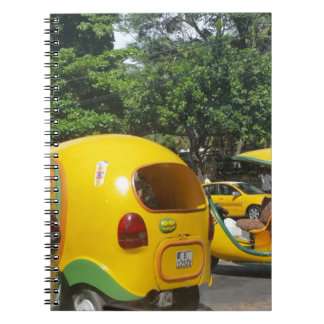 Bright yellow fun coco taxis from Cuba Notebooks