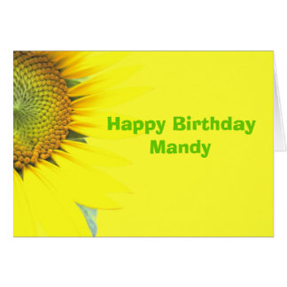 Bright Yellow Girls Birthday Custom Greeting Card
