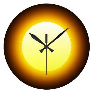 Bright Yellow Glowing Sun on Black Large Clock