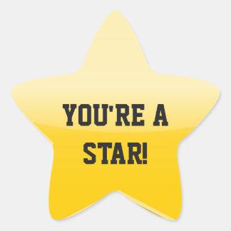 Bright Yellow Gold Star Custom Text Stickers