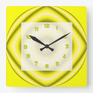 Bright yellow grey Groovy Abstract Square Wall Clock