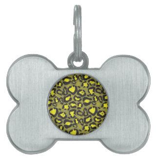 Bright Yellow Grunge Cheetah Pet Name Tag