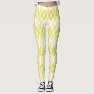Bright Yellow Grunge Harlequin Pattern Leggings