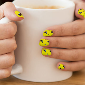 Bright Yellow Hockey Pattern Minx Nail Art