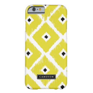 Bright Yellow Ikat Pattern Personalized iPhone Barely There iPhone 6 Case