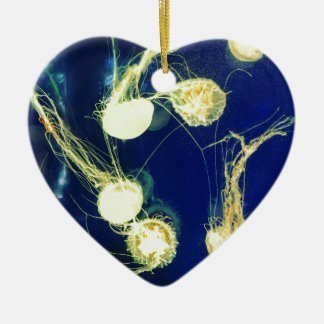 Bright Yellow Jellyfish Ceramic Ornament