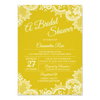 Bright Yellow Lace Bridal Shower Invitation
