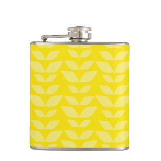 Bright Yellow Leaves Pattern Hip Flask