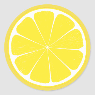 Bright Yellow Lemon Citrus Fruit Slice Design Classic Round Sticker