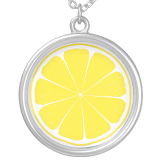 Bright Yellow Lemon Citrus Fruit Slice Design Silver Plated Necklace