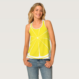 Bright Yellow Lemon Citrus Fruit Slice Design Tank Top