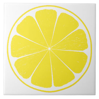 Bright Yellow Lemon Citrus Fruit Slice Design Tile
